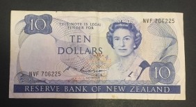 NEW ZEALAND 10 Dollar 1985 XF
