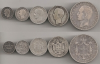 Collection with 5 silver George coins VF-XF