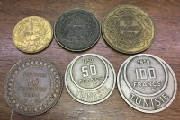 TUNISIA Collection of 6 different coins