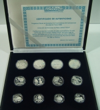 MEXICO Collection of 12 Silver Proof Coins 1986
