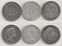 Collection 3 x 5 Drachmas 1833-1876-1901 VF+