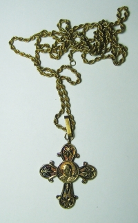 Greek Orthodox Cross with Saint Paul with silver gold-plated chain