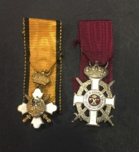 2 Miniature Medals Of King George and Order of the Phoenix with Sowrds