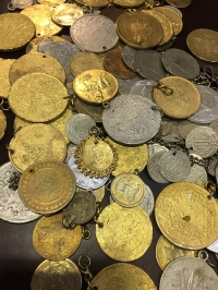 Silver-plated and gold-plated coins, mostly Turkish
