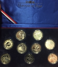 FRANCE 1998 8 x 10 FRANC AND 1 X 1 FR. FOOTBALL WORLD CUP SILVER PROOF SET