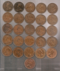 AUSTRALIA COLLECTION OF 25 PENNYS 1912-1964