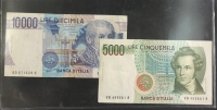 ITALY 5.000 and 10.000 Lire 1984 XF