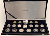 NORWAY Case with 4 gold and 12 silver coins of winter Olympic Games