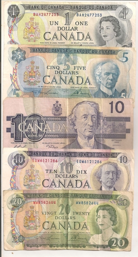 CANADA Lot with 5 banknotes of Canada