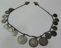 Antique silver jewlery with silver coins