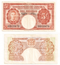JAMAICA 5 Shillings 1957 VF++