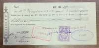 Bank Salonique 12 Ottoman Liras cheque 1912