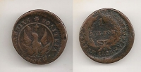 1 Lepto 1828 unique 10% offcenter rare type VF+