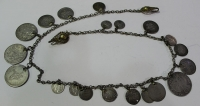 Antique silver jewlery with silver coins from 1766