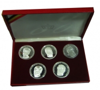 BELGIUM Collection of 5 Silver Medals with Kings