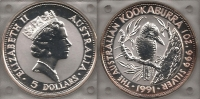 AUSTRALIA 5 Dollars 1991 Proof
