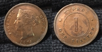 CYPRUS 1 Piastre 1879 AU Polished