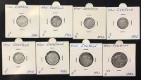NEW ZEALAND Lot of 8 different Silver coins