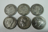 Collection of 6 Dif. Drachmas of King George F-VF