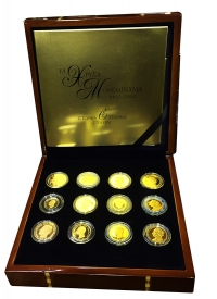 Collection of 12 Restrike Gold 18 k Coins Drachma 1832-2002