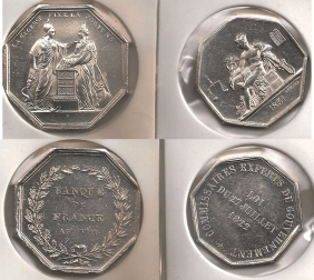 FRANCE 2 Silver medals 1822, 1831 (?)