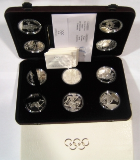 Olympic Set 1996 Silver 10 Coins Proof-5 Countries IN CASE OF ISSUE