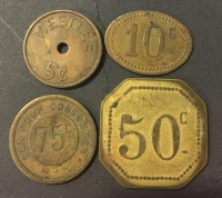 4 old tokens from 5 to 75 Cents
