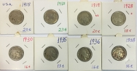 USA Collection of 8 Different Coins 5 cents Indian Heads .1915-1938 F to XF