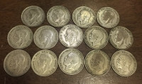 GR. BRITAIN Collection  14 Different 1/2 Cor. 1920-1936 F-VF