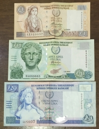 CYPRUS 1,10,20 Lira 2004,2003 and 1997 XF