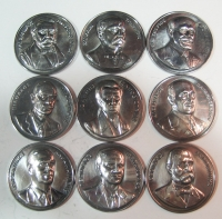 Collection with 9 silver medals with Greek Prime Ministers