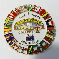 Pin with flags from nations, Sydney 2000