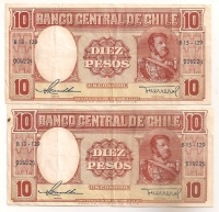 CHILE 2 Consecutive 10 Pesos VF-XF