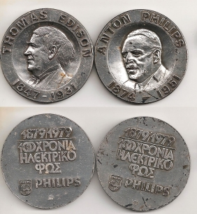 2 silver (1000) medals for 100 years of electric light Philips