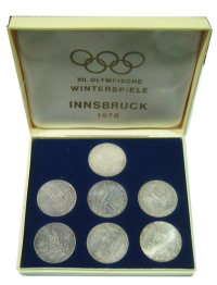 AUSTRIA Olympic set silver coins 1976